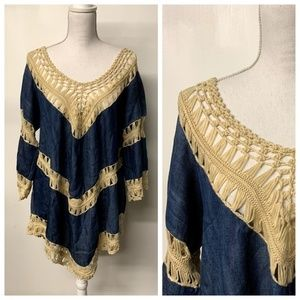 NWT UMGEE Denim & Open Knit Woven Boho Tunic Top